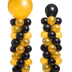 webshop ballonpilaar 160 cm plus topballon 40 cm totaal 200 cm patroon slingerend met verschil hoogte topballon 90 cm totaal 250 cm hoog 300x300 - Festivals