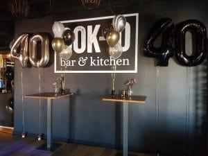 verjaardag 40 folie helium ballonnen zwart en rose gold