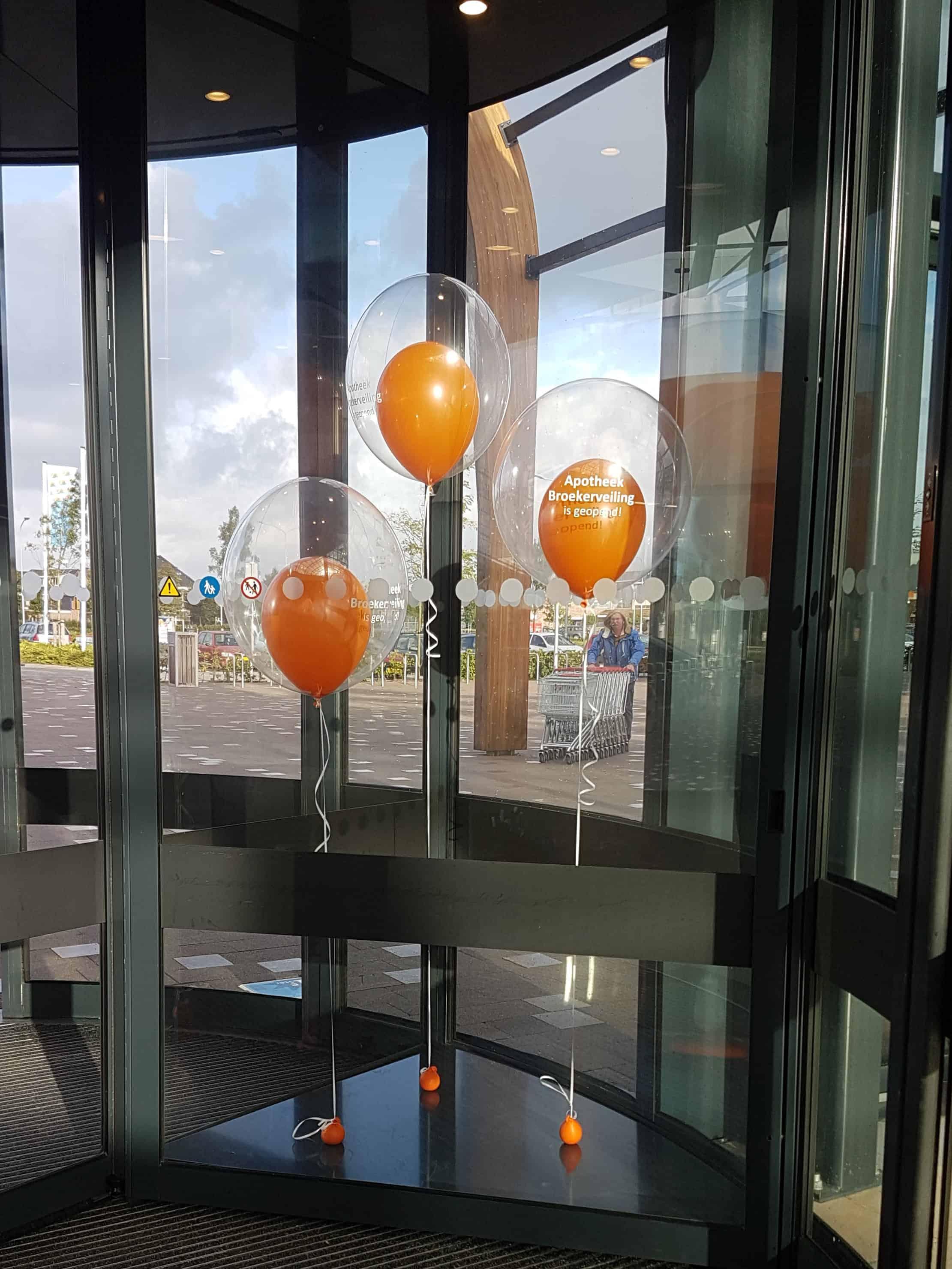 bedrukte ballon persoonlijke tekst opening  bedrijf apotheek De Decoratieballon Alkmaar