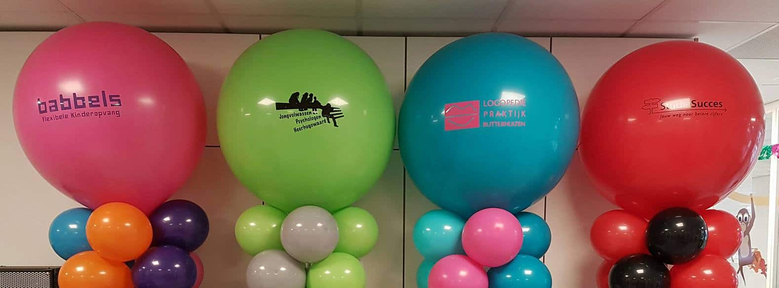 ballonpilaar-topballon-bedrukt-bedrijfslogo-De-Decoratieballon-Heerhugowaard-Babbels